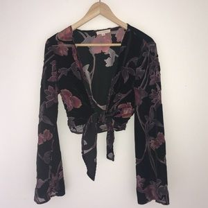 Velvet / sheer front tie top